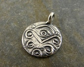 Protective Eye - Rustic Sterling Silver Charm - All Seeing Eye - cpepp