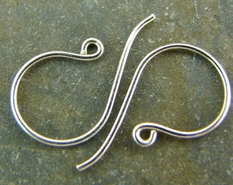 Sterling Silver French Hook Ear Wires -  Sterling Silver Findings- One Pair - ews