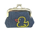 That's Just Ducky  - Tiny Kisslock Coin Purse Handmade