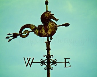 Seahorse Weathervane Art, Teal Beach Decor, Turquoise Art, Antique Weathervane, Aqua Seahorse Wall Decor,Miami FL Print,Seahorse Photography