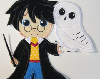 Magical Boy and Snowy White Owl - Iron On or Sew On Embroidered Applique