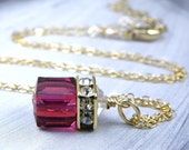 Gold Ruby Necklace, Swarovski Cube Crystal Jewelry, Gold Filled, Fuchsia Wedding, Magenta Jewelry, Red Bridesmaid Necklace, July Birthstone