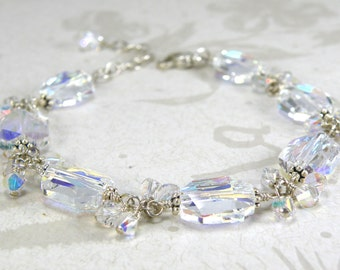 Clear Crystal Bracelet, Sterling Silver, Modern Swarovski, Cluster Beaded White, Bride Statement Wedding Jewelry, Handmade, For Mom Gift