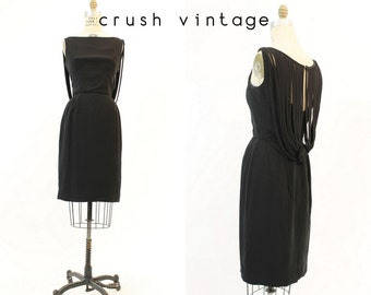 50s Dress Wiggle Small / 1950 1960 Little Black Dress Cage Frock / Holly Golightly Dress