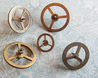 Vintage WATCH PARTS gears - Steampunk parts - m5 Listing is for all the watch parts seen in photos