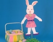 Girl Bunny Easter Card. Posable Stick Puppet. White Bunny Rabbit Stick Puppet Gift and Card Combination
