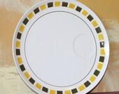 Vintage Mikasa Cera Stone Mirage 3121 Plate, yellow squares,brown squares,art deco,zen,white plate,japan,
