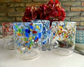 Hand Blown Glasses-Tumblers-Drinkware-Wine Glasses-Wedding Gift-Dining-Entertaining-Set of Four-Color Mix or All Same Color-FREE Book Bonus