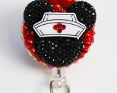 Minnie Mouse Nurse Black Silhouette ID Badge Reel - RN ID Badge Holder - Zipperedheart