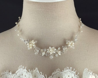 Freshwater Pearl Bridal Necklace, Crystal and Pearl Wedding Necklace