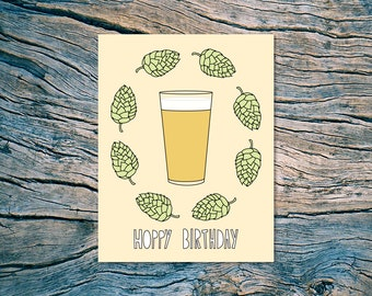Hoppy Birthday - A2 folded note card & envelope