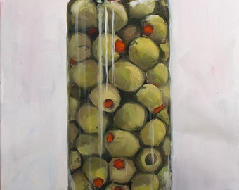 Big Clear Glass Jar, Gold Lid, Chilled Green Olives with Red Pimentos, Original Painting by Clair Hartmann