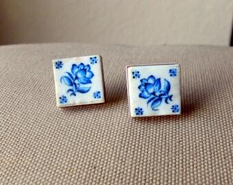 Portugal Lisbon Delft Blue Antique Tile Replica 1837  Pasteis de Belem POST STUD Earrings 485