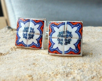 Portugal Tile Antique Replicas LISBON Blue Red CUFFLINKS (see photo)  Viuva Salles e Companhia