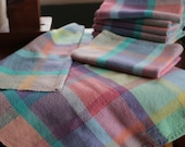 Handwoven Happy Tea Towel, Pastel for Spring!