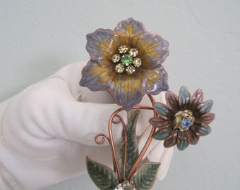 Large Enamel on Copper Floral Brooch Pin Rhinestones Aqua Lavender Purple Green Gold Pastel