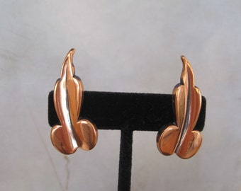 Renior Mid Century Modern Copper Earrings Leaf Design Signed