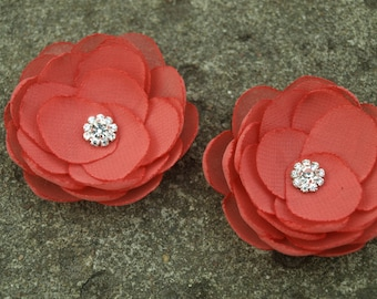 Coral Red Flower Brooches Bobby Pins Shoe Clips Set of 2 Peach