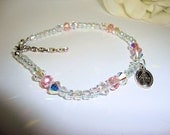 Anklet, Ankle Bracelet, Catholic Miraculous Medal, Pink and White Crystals