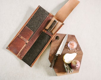 Leather Knife Case // 4 knife kit by fullgive in english tan