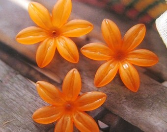 6 ps 35mm Large frosted garden Petunia flower beads (FL033-I)