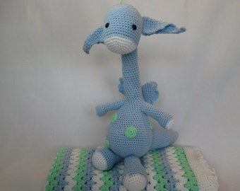 Baby blanket afghan  dragon green blue white or CHOOSE YOUR COLORS