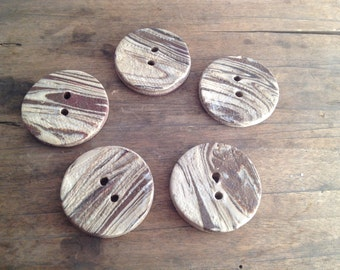 Ceramic buttons - Laced Brown Cream Buttons - set of 5 - Stoneware Buttons