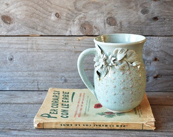 Stoneware Tea Cup with Daisies Handmade Ceramics  - Stoneware  - light blue - mug