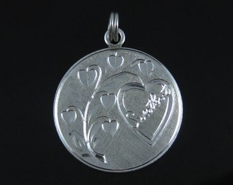 Vintage Sterling Silver Etched Sweet Heart Pendant