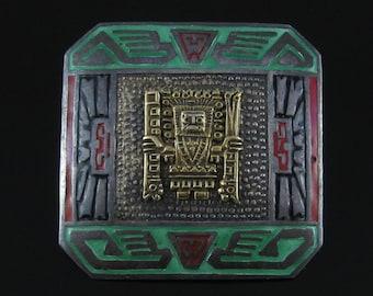 Vintage Sterling Silver & 10K Peruvian Enameled Brooch Pin