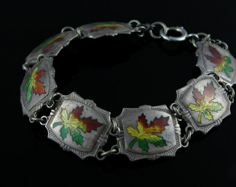 Linked Bracelet, BMCO, Colorful Enamel, Sterling Silver, Canada Maple Leaf, Fall Leaves, Winnipeg Bracelet