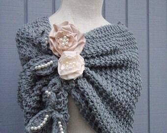 bridal shawl, grey bolero, handmade shurg handmade flower,  bridesmaid gift, wedding shawl, bridal shawl, bride accessories,blue grey shawl,