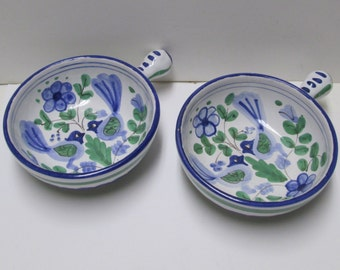 Italy, Portugal or Delft Faience Bowls 2 Hand Painted Vintage Majolica Style Birds Blue Green Italian
