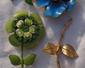 Vintage Flower Brooches - Three Brooches pansy, rose, rhinestone green enameled flower
