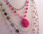 Pink Agate Pendant Gold Wire Necklace