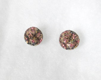 Pink and Gold Faux Druzy 12 mm Earrings