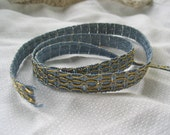 Vintage Gold Metallic and French Blue Rayon Trim from France. Sold by the Yard/NOS