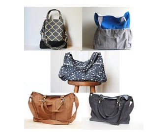 Bag Sewing Pattern Bundle.  Five Purse Patterns.