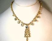 Vintage White Rhinestone CHOKER  Necklace, Prom, Bridal.Glam, Holiday, Princess, Glass Sparkle Stones, Goldtone Backing, Prong Set, 1980s