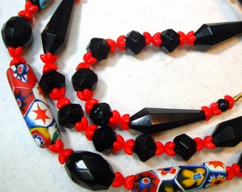 Red Black Art Deco Glass Necklace w Venetian Vintage MILLEFIORE Trade Bead Centerpiece, OOAK by Rachelle Starr, Ecochic Recycled