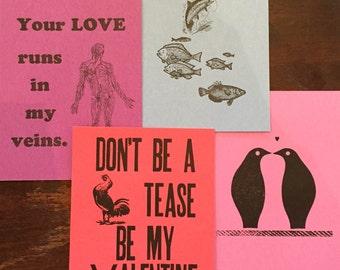 Letterpress Valentines- Pack of 4