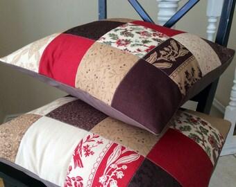 Maison de Garance Patchwork Pillow Covers -- 18 Inch -- Set of Two