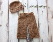 Newborn Baby Boy Crochet Hat and Legging Pants Set Brown