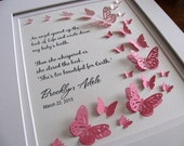 Too Beautiful for Earth Personalized 3D Butterfly Art. YOUR Choice of Ombre Colour. Stillbirth, Miscarriage, Memorial. 8x10. Made to Order