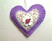 Lavender Felt Heart Ornament | Valentines Day | Home Decor | Holidays | Handmade | Spring Decor | Bridal Wedding | Party Favors | #1