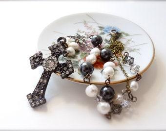 Rustic Rhinestone Metal Pendant Cross Necklace, Ivory Freshwater Pearls Gray Grey Swarovski Pearls, Tan Gray Crystals, Antique Brass Beaded