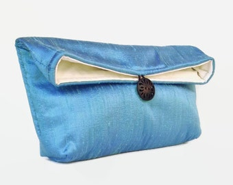 Bright Blue Bridesmaid Clutch, Ready to Ship Bridesmaid Gift Idea, Blue Clutch Purse Bridesmaid Gift, Wedding Party Water Blue Silk