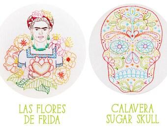 Embroidery Pattern Set: Calavera Skull and Las Flores de Frida - PDF