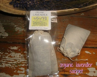 Organic Lavender blossoms filled in muslin drawstring bag tuck under pillow case or hang in closet to release natural fragrance of flowers