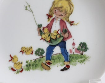 70s Girl with ducklings porcelain plate.. .. made in France vintage